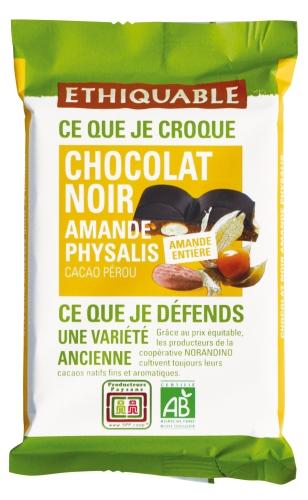Bio Carré Gourmand Noir Amande 100g