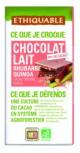 Bio Choco. Lait Rhubarbe Quinoa100g