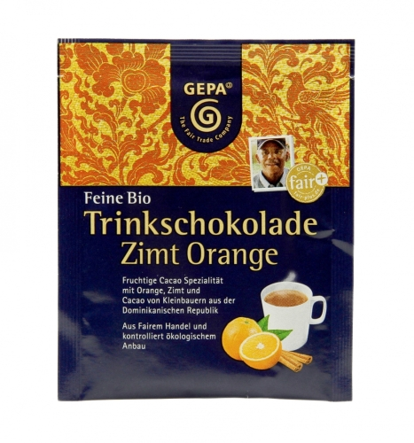 Bio Trinkschokolade Zimt Orange 15g