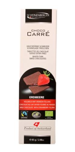 Bio Choco Carré Vollm.Erdbeer 85g