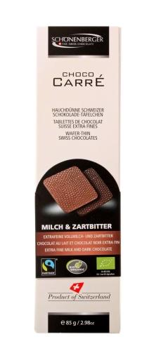 Bio Choco Carré Vollmilch/Zartb 85g